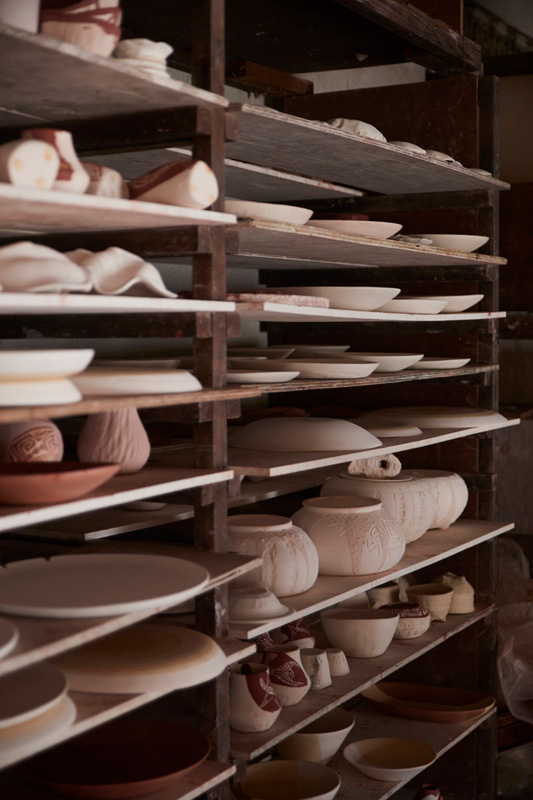Potteries drying in the studio
